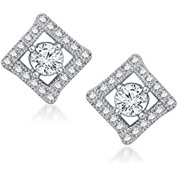 Meenaz Solitaire Diamond Earring Valentine Gifts Stylish Party Wear Silver Studs Earrings For Womens and Girls In American Diamond Cz Jewellery - T212