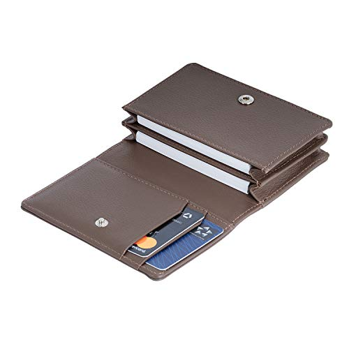 VON HEESEN Echtleder RFID Visitenkartenetui aus Nappa-Leder - Made in Europe - 6 Fächer - Kreditkartenetui Leder - Geschenk für Damen & Herren mit Geschenkbox (Hellbraun)