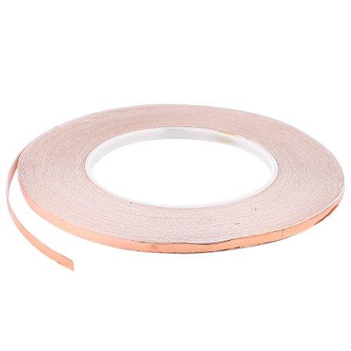 Sourcingmap® Kupferfolie auf Rolle, 5mm x 50m, EMI Kupfer-Folie, Heizkanal, selbstklebend, Dichtungsband