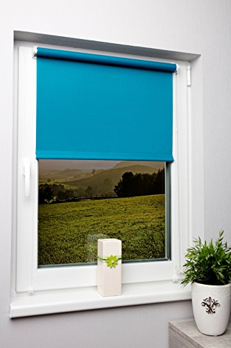 Rollo lichtdurchlässig in vielen Farben und Größen Klemmfix ohne Bohren Fensterrollo für kleine und große Fenster und Türen Sichtschutzrollo Seitenzugrollo Klemmrollo Türkis 60x210 cm