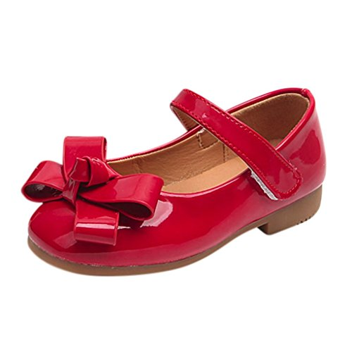 Kinder Ballerinas 🔥LMMVP🔥Babyschuhe Kinderschuhe Sommer Schuhe Mädchen Lackschuhe Sandalen Flower Prinzessin Lederschuhe Kinder Sandalen Halbsandalen (3.5-10Jahr) (Rot, 26(3.5-4Jahr))