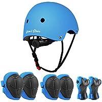 JIM\'S STORE Casco y Protecciones Ajustable Infantiles Rodilleras Coderas, Set di Casco 7 Piezas/Set para Scooter Ciclismo Rodillo Patinaje (Azul)