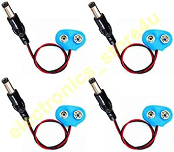 """e4u 9V Battery Snap Cap + Standard DC Male Jack Connector With 4"""" Wire - 4 Pieces"""