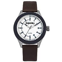 Superdry Herren Analog Quarz Uhr mit Leder Armband SYG231BR