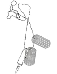 Well Point Military Duo Tag Alloy Pendant With Chain Necklace For Men