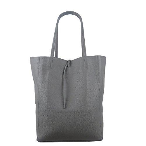 Freyday Damen Echtleder Shopper mit Innentasche in vielen Farben Schultertasche Henkeltasche Metallic look (Dunkelgrau)