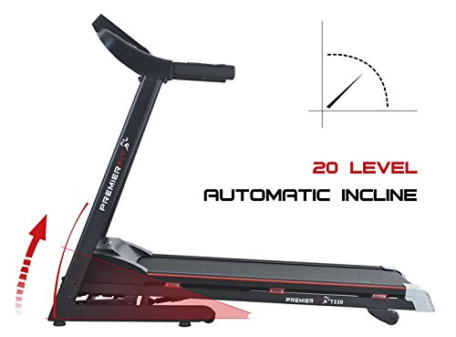 41Y55nTAneL - PremierFit T330 - Motorised Electric Treadmill/Folding Running Machine with 20-Level Automatic Incline - Heart Rate Monitor, AUX/USB/SD Inputs and Speakers - 4.5HP Motor