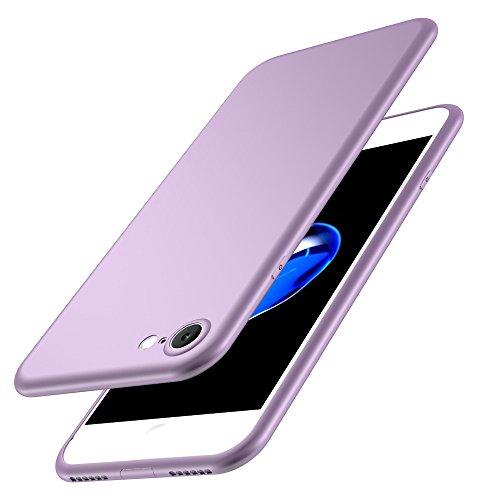 Coque iPhone 7,JEPER® Silicone Souple TPU Ultra-Fine Anti-Rayures Anti-Dérapant Etui Rubber Couleurs de bonbon Case pour Telephone Apple iPhone 7 4.7 Pouces Pourpre