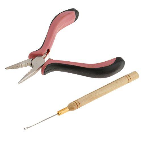 MagiDeal Extensions de Cheveux Kit d'outils Pince Crochet à Aiguille Pour Silicone Micro Anneaux Boucle - #2 Pince à tête droit