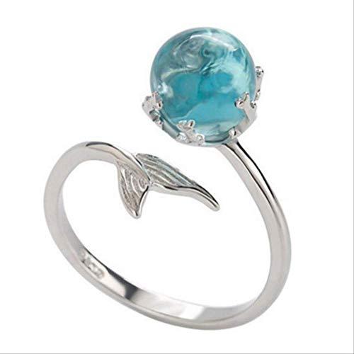 Mhsm Ring Hochzeit Meerjungfrau Blase Offenen Ring Allergie Frei Anmutige Heiße Verkauf Einstellbare Hohe Qualität Silber Blau Kristall Wie Das Bild