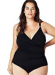 Zizzi SMUNCHEN Damen Elegant Monokini Badeanzug Einteiliger Figuroptimizer Bademode Badebekleidung, Große Größe 42-56