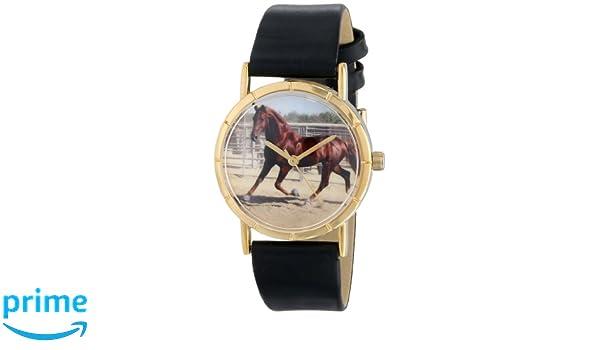 Foto Skurril Schwarzem Quarter Leder Uhren Goldfarbenes Und Horse 4j3RL5A