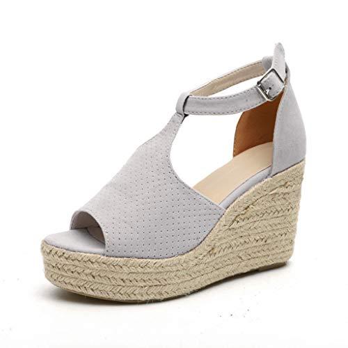 Hcfkjsandali da donna alla moda in pelle scamosciata leopardata con zeppa alla caviglia, sandali outdoor, scarpe casual open toe