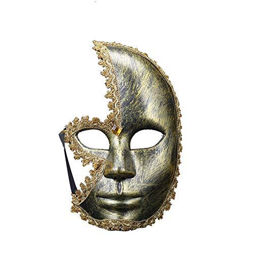 Daliuing Herren Halloweenmaske, Vintage, halbes Gesicht, Plastik, Festival-Maske, Halloween, Karneval, Maske, Dekoration 24 * 14cm Gold-b