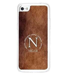 YuBingo Apple iPhone 5c 2D Designer Phone Back Case Cover ( Monogram with Beautifully Written Surname Nigam )