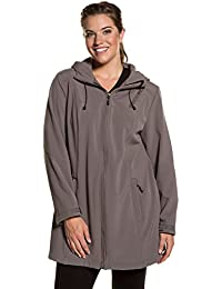 Ulla Popken Women's Plus Size Fleece Lined Long Softshell Jacket 711911