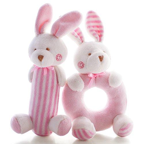 SHILOH Baby Kinder Weich Spielzeug Plüschtiere Rasseln Spielzeug set, 2PCS (Pink Bunny)
