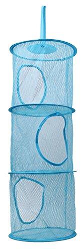 Faltbare Drei Schicht Wäsche Spielzeug Baskets Home Storage Hängetaschen 3 Farben (blau)