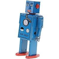 7f19b9e0d66 Homyl Giocattoli Stocaggio Robot Vento Piedi Orologeria Cammina Decor Casa  Scrivania Regalo - Blu