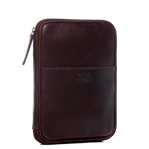 FEYNSINN Tablet-hülle JOONEY - Unisex iPad-Tasche groß Lederhülle fit Ipad & A5 pouch - Cover Damen und Herren echt Natur-Leder hellbraun-cognac