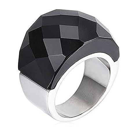 NELSON KENT Damen Edelstahl Halbe Pack Transparente Glas Ring Silber Schwarz Größe57(18.1)