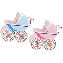 FLAMEER 20 Piezas Caja de Dulces Rosa Azul en Forma Cochecito para Baby Shower para Caja