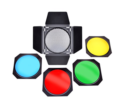 Bresser F000115 Fotostudio M-22 Abschirmklappen-Set für Reflektoren mit 17,5 cm Durchmesser schwarz Bowens Set