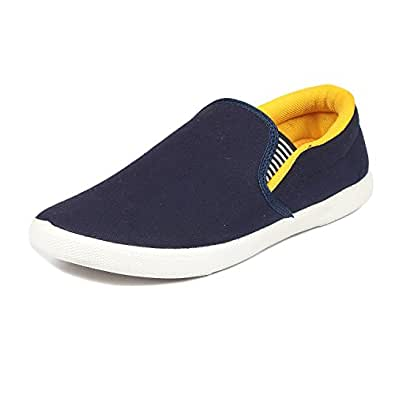 Scatchite Men's Blue & Yellow Canvas Loafer - 7