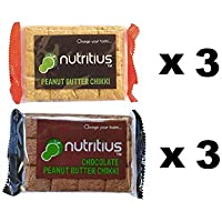 Nutritius Chocolate Peanut Butter Chikki and Peanut Butter Chikki, 750g (6 Packs of 125g Each)