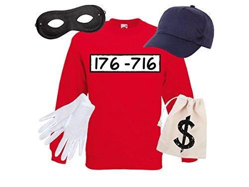 stüm Outfit Maske Set Cap Handschuhe Einbrecher Bankräuber Verkleidung von Alsino, Größe wählen:XL, Variante wählen:Sweatshirt/Cap/Maske/Handsch/Beutel (Einbrecher Kostüm)