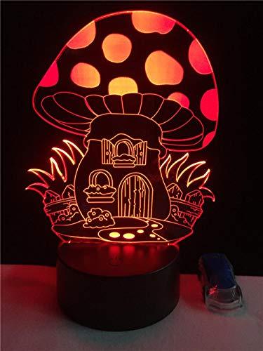 1 Paket, Cartoon 3D Nette Märchen Pilz Haus Illusion Led Schöne Nachtlichter Atmosphäre Stimmung Lampe Beleuchtung Spielzeug Geschenke -