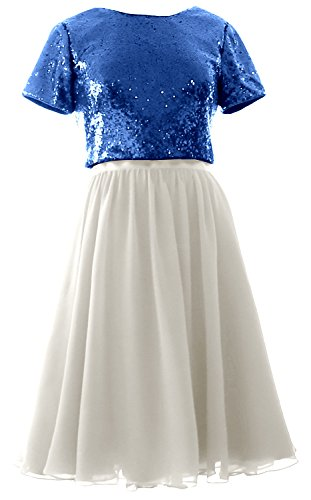 MACloth Cap Sleeves Two Piece Short Bridesmaid Dress Sequin Chiffon Formal Gown Royal Blue-Ivory
