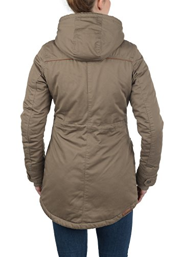 DESIRES Annabelle Damen Übergangsparka Parka Übergangsjacke Lange Jacke mit Kapuze, Größe:XS, Farbe:Shitake Br (5323) - 4