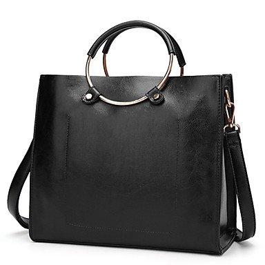 Donne Tote PU tutte le stagioni Casual Baguette Zipper marrone Nero Grigio,grigio Black