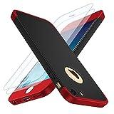 Losvick Coque iPhone 5/5S, iPhone Se Housse 360° Complète PC Matière [2×Film de Verre trempé] Étui 3 en 1 Antichoc Ultra Mince Case Anti-Rayures, Bumper Protection pour iPhone 5/5s/SE -Noir et Rouge