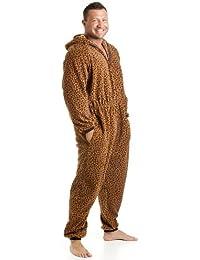 Combinaison pyjama à capuche en polaire - motif léopard - homme - caramel - taille S à XL