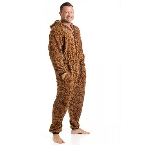 Herren Schlafanzug-Einteiler aus Fleece - Leoparden-Muster Karamell - Größen S-XL L -