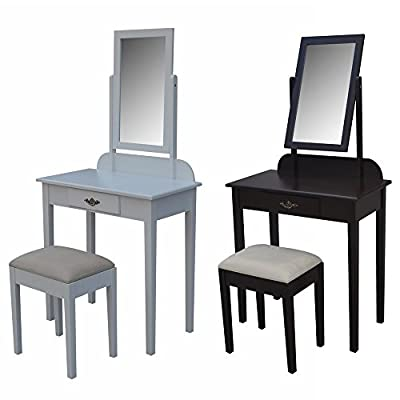 Homegear Vienna Dressing Table, Mirror & Stool Set / Vanity Makeup Desk