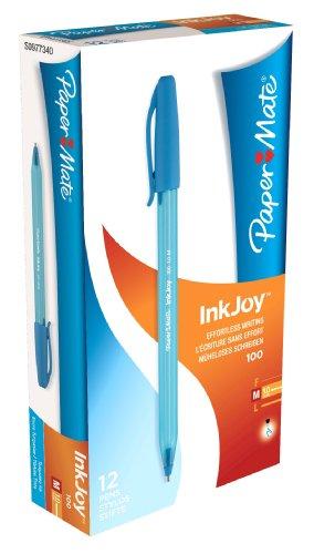 paper-mate-inkjoy-100-kugelschreiber-mit-kappe-medium-12er-pack-turkis
