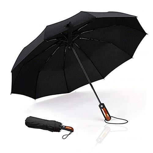 Meiyijia Ombrello Portatile Automatico Antivento, Ombrello da viaggio di alta qualità e resistenza - 10 stecche rinforzate, Design leggero pieghevole portatile e compatto