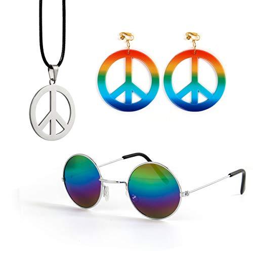 Funhoo Hippie Kostüm Accessoires Set Ohrringe Brille Kette mit Friedenszeichen für Halloween Fasching 60er 70er Party Outfit Zubehör (Style C) (1960 Fancy Dress Kostüm)