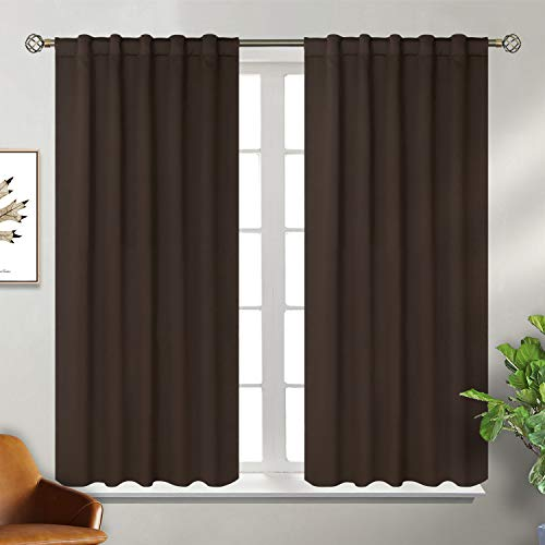 Tende oscuranti termiche isolanti per finestre camera da letto casa interni,2 panelli(117x137 cm(l×a),marrone)