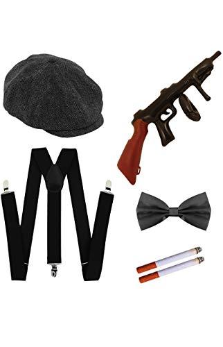 Seemeinthat Peaky Blinders Cap Tommy Gun Hosenträger Krawatte und gefälschte Zigaretten Kostüm 1920er Jahre High Fashion
