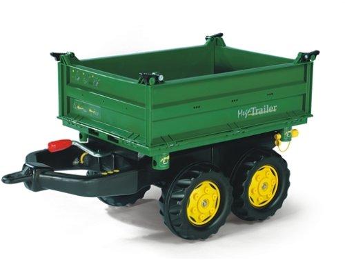 *Rolly Toys 122004 Anhänger Mega Trailer, in 3 Richtungen Kippbar, mit Gewindekurbel, mit Heckkupplung (für Kinder ab 3 Jahren geeignet, zwei Achsen, Farbe Grün, Radkappen Farbe Gelb)*