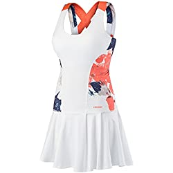 HEAD Vision Graphic Dress Womens Vestido, Mujer, White/Coral, XS