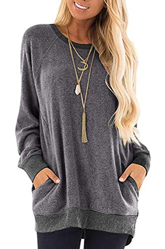Damen Langarmshirt Casual Sweatshirt Farbblock T-Shirt Rundhals Blusen Top Pullover Oberteile mit Taschen (252-grau, XX-Large)