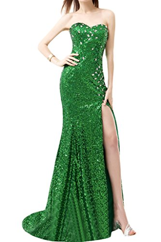 Sunvary Bling alta Slide Slit Sweetheart collo ballo per abito da sposa 2016 donne Green
