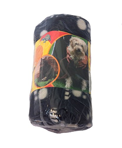 Haustierdecke Hundedecke Fleece Decke Katzendecke Tierdecke Liegedecke Pfötchen (schwarz, 80 x 120) - 2