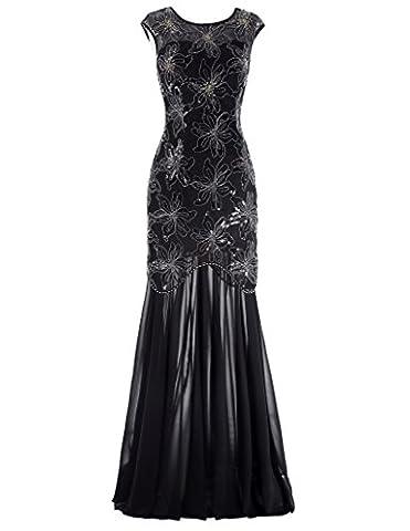 Femme Vintage Elégante Robe de Bal Longue avec Paillettes Fleur Taille Taille 38 FR1055-1