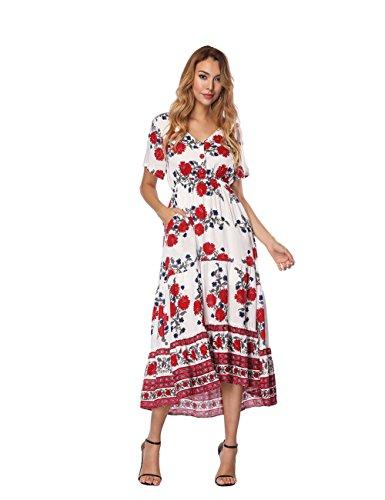 Damen Sommer Lang Kleid Lässiges Elegant Boho Blumen Kurzarm V Ausschnitt  Maxikleid d11dd4211d